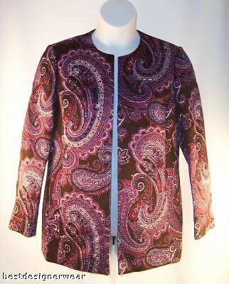 NEW ELLEN TRACY Womens Blazer Size 12 Purple Paisley Cotton Blend Reg.