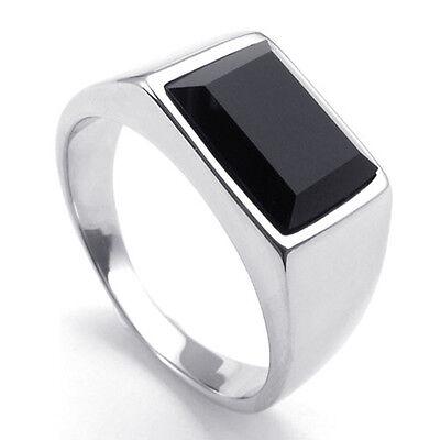 Princess Cut Black Onyx Silver Tone 316L Stainless Steel Men Ring