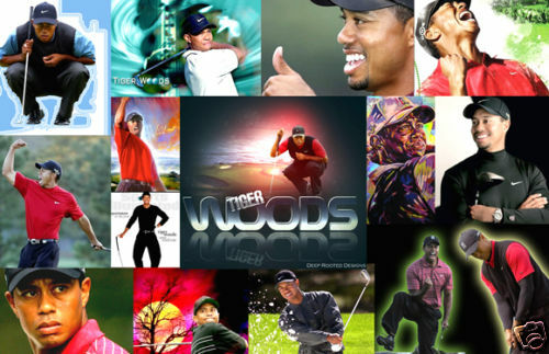 Tiger Woods Collage Poster