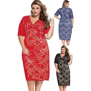 efeedc46547b Women Plus Size Lace Midi Dress Stage Dance Wear Casual Brief Cute ...