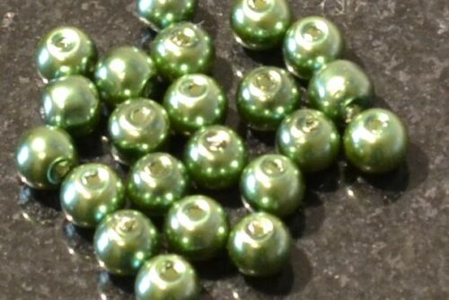 Green Round Glass Pearl Beads 4mm 6mm 8mm 10mm Premium Quality Weddings Crafts