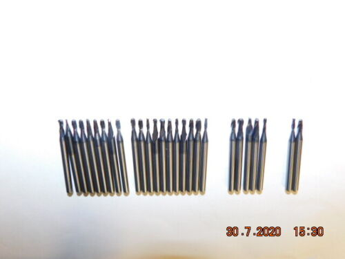 25Pcs of 1//8 Shank Miniature Carbide End Mills Very Lite Use Sharp Mixed Dias