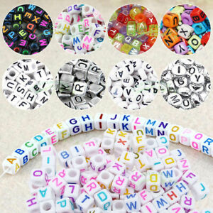 100-DIY-Random-Alphabet-Letter-Acrylic-Cube-Spacer-Loose-Beads-Jewelry-Making-Iy
