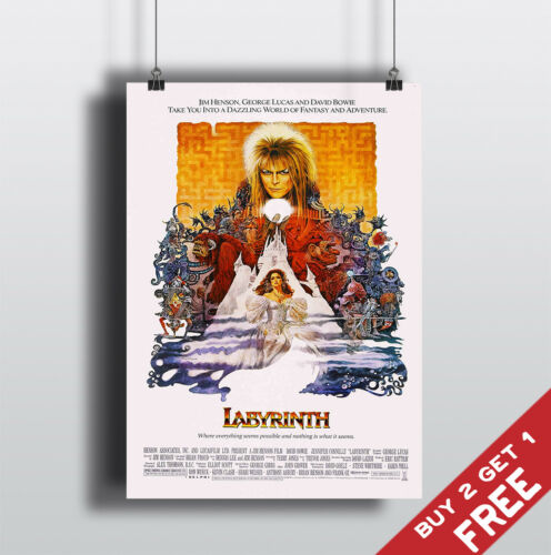 LABYRINTH 1986 MOVIE POSTER David Bowie Film A3 A4 Fan Art Print Home Wall Decor