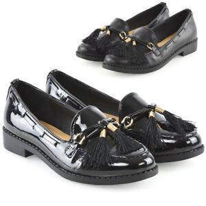 Womens-Slip-On-Loafers-Ladies-Tassel-Black-Casual-School-Work-Pumps-Shoes-Size