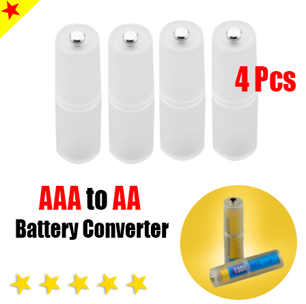 4pcs AAA to AA Size Battery Converter Adapter Batteries Holder Durable Case Swit