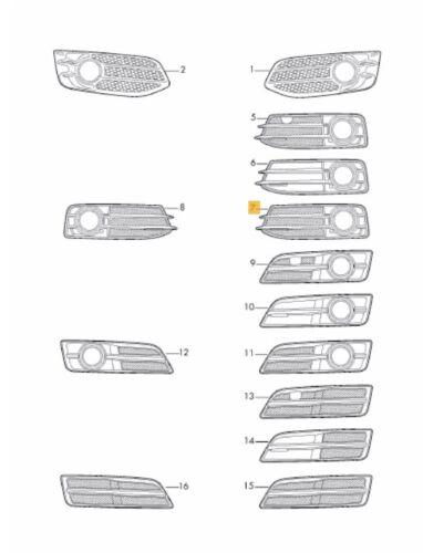 NUOVE Originali AUDI A3 2009-2013 PARAURTI ANTERIORE NERO luce antinebbia grill Sinistro N//S