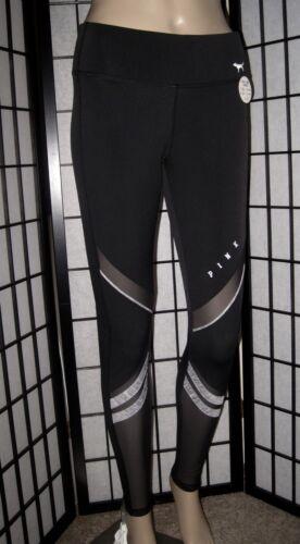 NWT VICTORIA/'S SECRET PINK BLACK SHEER MESH GRAY FLEECE LINED ULTIMATE LEGGINGS