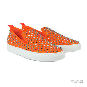 Giacomorelli-Neon-Orange-Metal-Studded-Leather-Punk-Slip-On-Sneakers-IT42-UK8