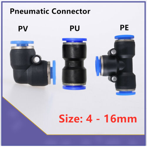 Pneumatic Push In Connector Air Water Hose Tube Speed Fittings NYLON Joiner 4-12