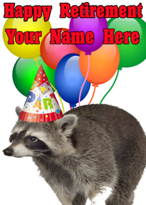Raccoon-nnc94-Happy-Retirement-Party-Card-Personalised-Greetings