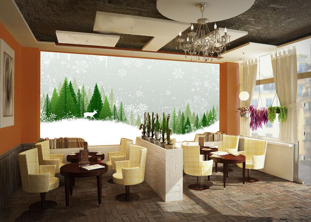 3D Snowing Pine 473 Wallpaper Murals Wall Print Wallpaper Mural AJ WALL UK Carly