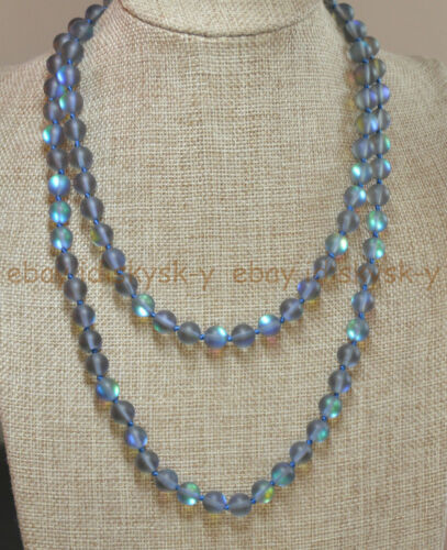 Natural 6mm Gray Gleamy Rainbow Moonstone Round Gems Beads Necklaces 16-64/""