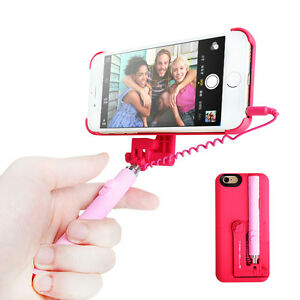 iPhone 6/6 Plus Built-in Wired Extendable Selfie Stick Case Cover