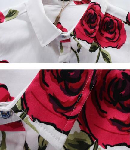 M-5XL homme slim rose à manches longues Fashion Floral Printed Shirt Top Plus Size