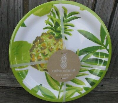 Outdoor Collection Yellow Pineapple MELAMINE Plates /& Bowls Set Of 4 Tropical NW