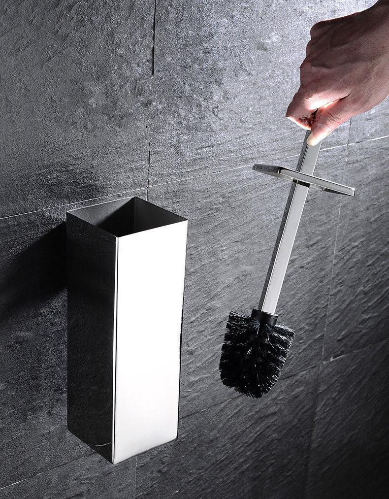 Chrome Acier Inoxydable 304 Support Mural Salle de Bain WC Brosse De Nettoyage Holder Set