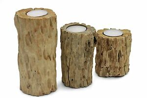 Driftwood-tea-light-candle-holder-rustic-shabby-chic-handmade-3-piece-pillar-set