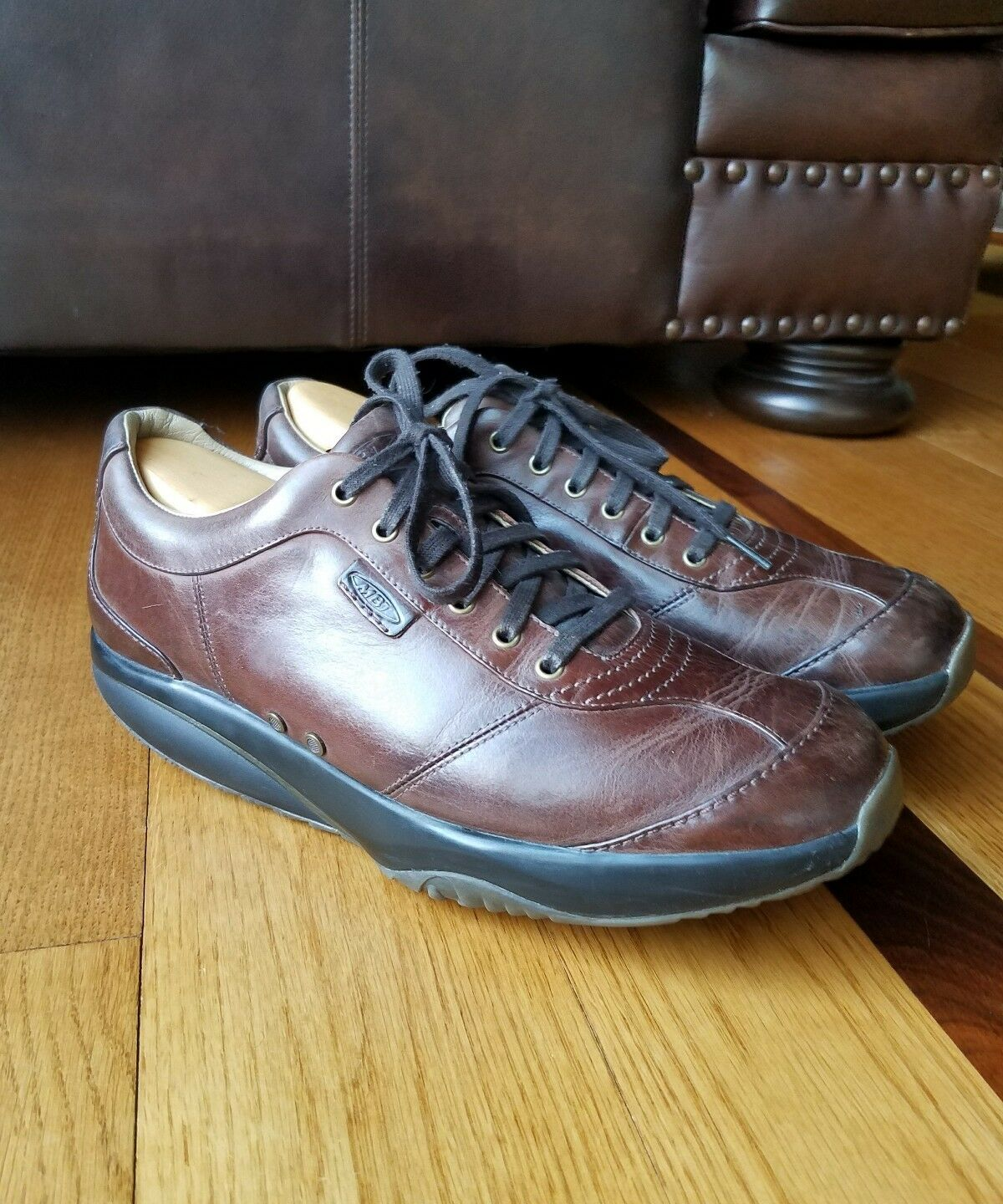 MBT Men's Swiss Engineered Brown Leather Walking Comfort shoes Size 12 400126-04