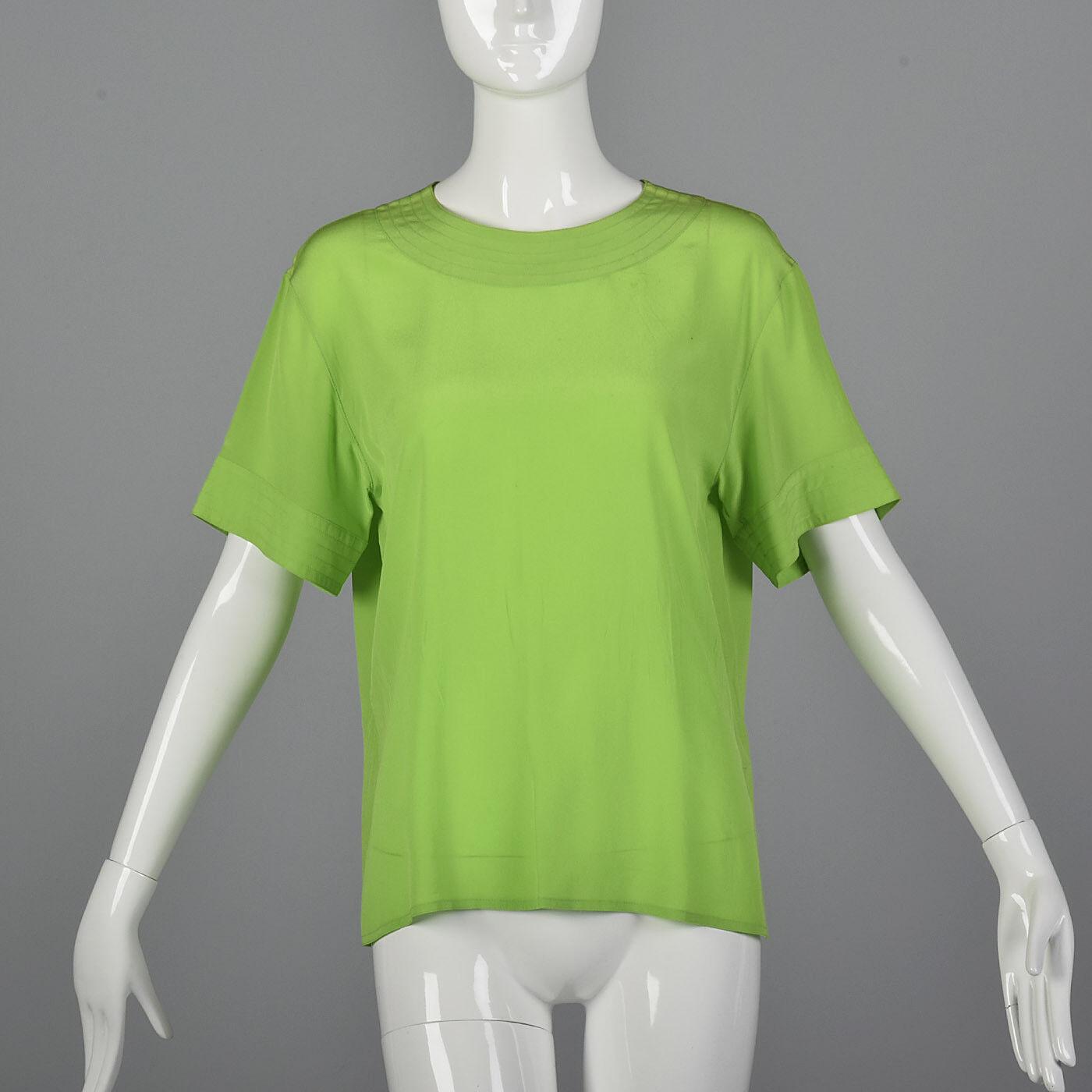 M 1990s Max Mara Green Silk Top Short Sleeve Blouse Lightweight Spring 90s VTG