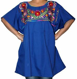 f9141fd7c7d295 Image is loading ASSORTED-PEASANT-PUEBLA-EMBROIDERED-MEXICAN-BLOUSE-TOP-XS-