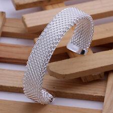 Unisex 925 Sterling Silver Cuff Bangle Bracelet L84