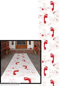 TAPIS-BLANC-3-10mX61cm-de-sang-Traces-Pieds-Sanglants-Decoration-HALLOWEEN-NEUF