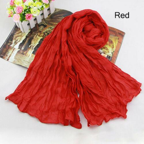 Women Spring Long Solid Candy Color Pashmina Shawl Wrap Scarf Silk Chiffon