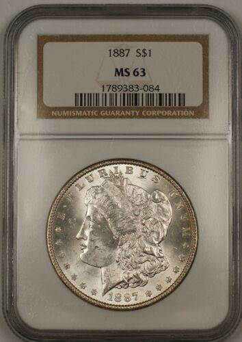 1887 Morgan Silver Dollar $1 Coin NGC MS63 Nicely Toned Rim 13b