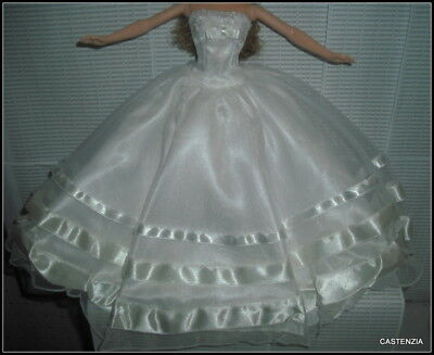 DRESS BARBIE DOLL MATTEL MILLENNIUM  WHITE LONG WEDDING EVENING GOWN ACCESSORY