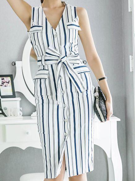 Elegante raffinato vestito abito donna tubino cintura azzurro bianco 2  3722