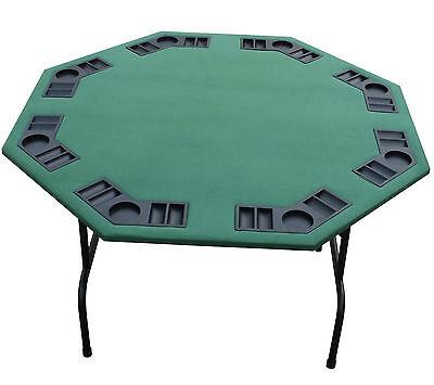 52 Quot Octagon Green Felt Poker Table Folding Steel Legs 4
