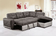 QUINTO Grey Fabric Corner Sofa Bed Pull-Out Drawer Style w/ Storage Footstool