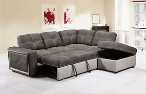 Details about QUINTO Grey Fabric Corner Sofa Bed Pull-Out Drawer Style w/  Storage Footstool