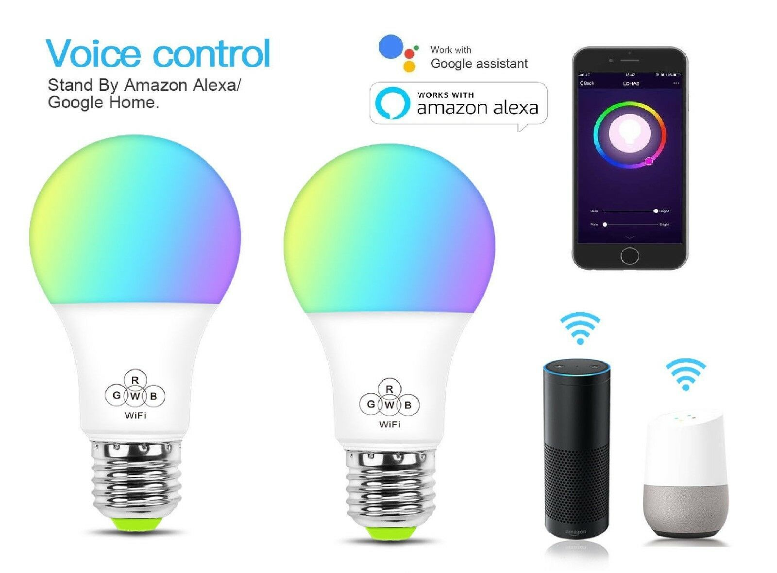 Smart WIFI bulb RGBW E27 Colour - Compatible with Alexa and Google Devices