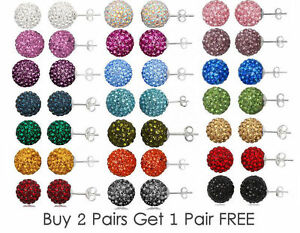 10mm-Crystal-Shamballa-Earrings-Disco-Ball-Stud-3-Pairs-For-The-Price-of-2