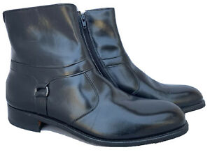 ET-WRIGHT-USA-VINTAGE-BLACK-LEATHER-ZIP-UP-BEATLE-BOOTS-10-5-C-LNC