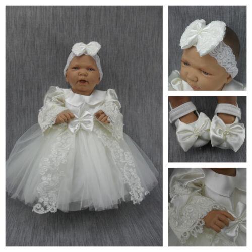 62 BABY Kleid Taufe Taufkleid Festkleid Weiß Creme 4-teilig Spitze Schuhe Gr
