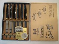 NOS! SET of 6 STEAK KNIVES! Vintage REGENT SHEFFIELD - WARWICK stainless!