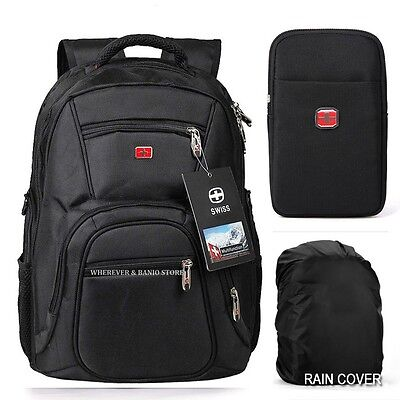 "Waterproof Swiss Travel Backpack Men 15""Laptop multifunction Outdoor School Bag"