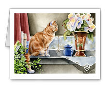 TABBY CAT IN THE WINDOW Set of 10 Note Cards With Envelopes