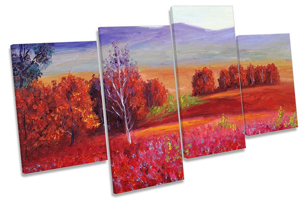 rot Landscape Paint Repro Framed MULTI CANVAS PRINT Wall Art