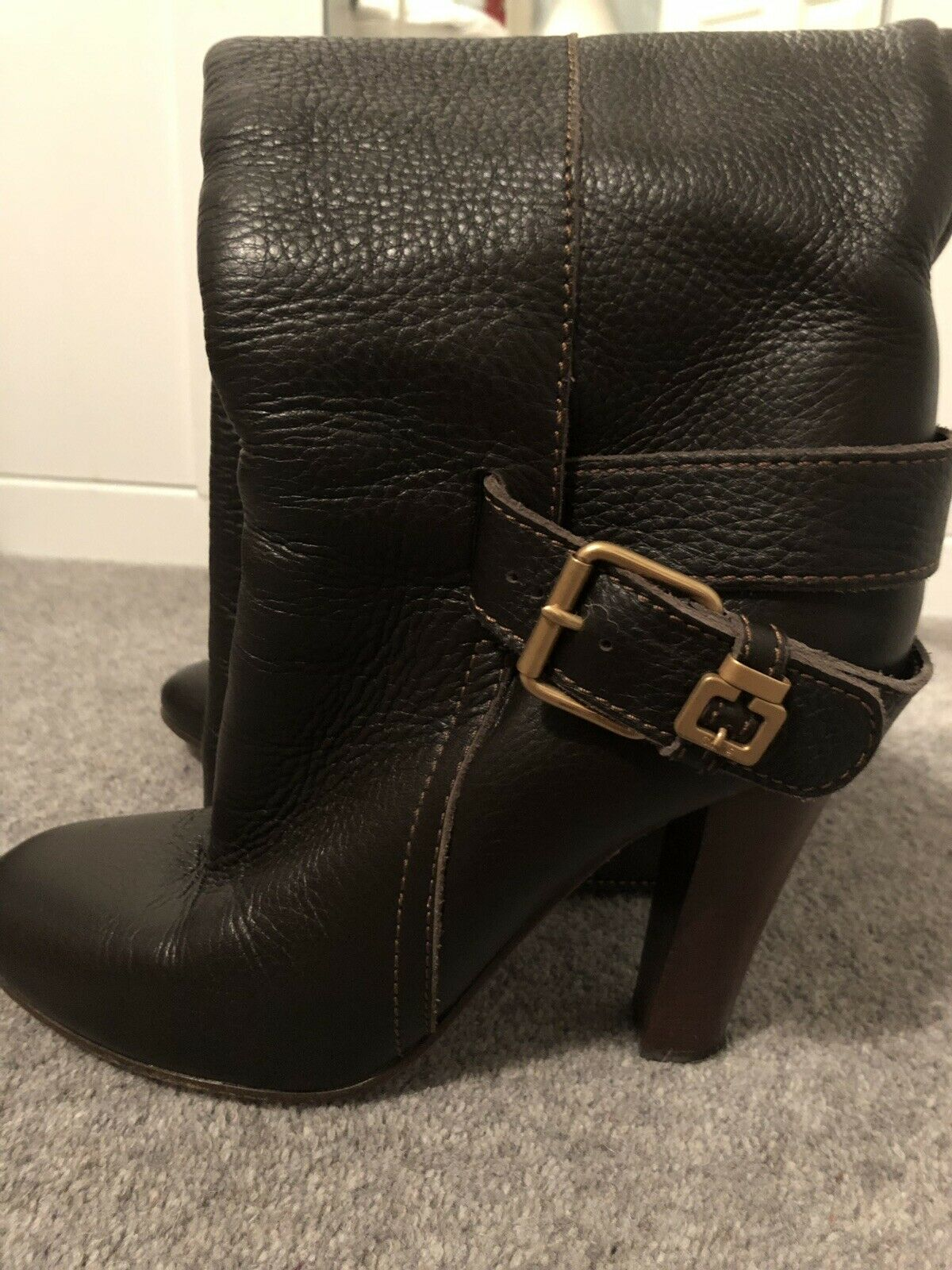 Chloe Dark Brown Knee High High Heel Buckle Boots Size 38.5