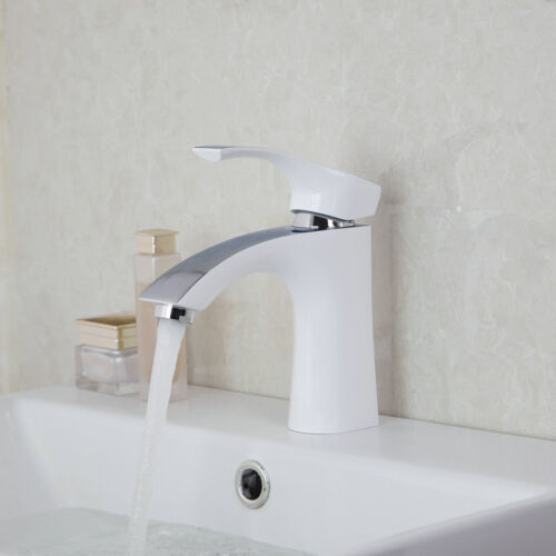 Modern Bathroom Faucet Basin Deck Mounted White Painting Mixer Sink Hot Cold Tap