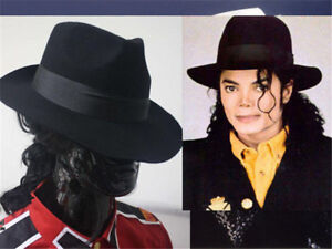 Michael Jackson MJ Men s Black Wool Fedora Hat Billie Jean Black ... bd37b2c7ff32