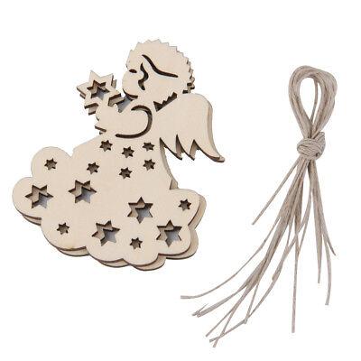W64 10x Wooden Angel Craft Cupid Hanging Blank Shape Embellishment Decoration