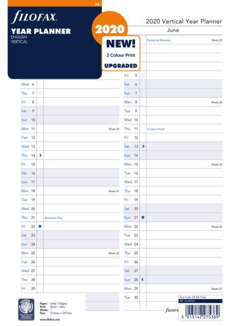 Filofax 20-68702 A4 Jahresplaner vertikal englisch 2020