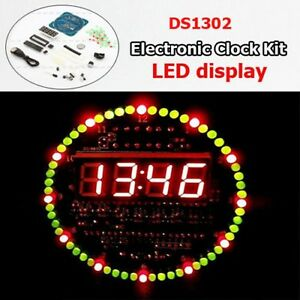 Details about DIY Kits DS1302 Rotating LED Electronic Temperature Display  Board Digital Clock