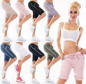 Italy-Mujer-Shorts-Bermudas-Baggy-Corto-Pantalon-Chino-Contraste-Rayas-Stretch