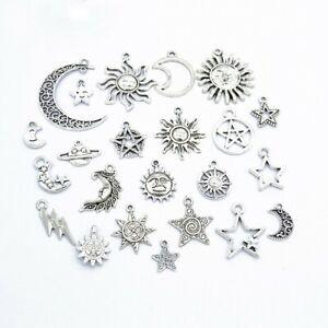 Lots-23-Mix-Style-Star-Moon-Sun-Planet-Charm-Tibet-Silver-Pendant-Bracelet-Beads
